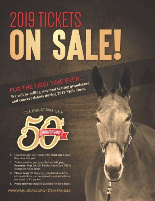 2019 Ticket Sales Mule Days